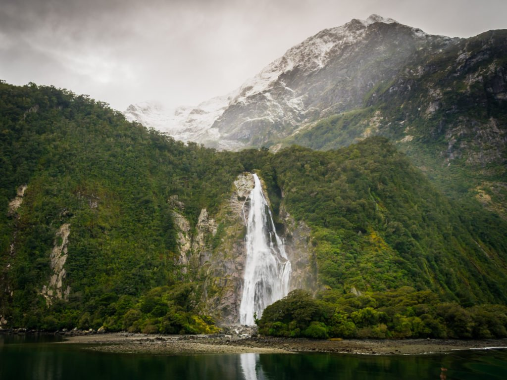 milford sound bowen falls new zealand winter