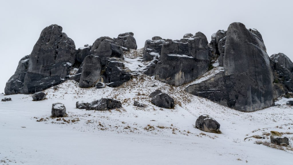 castle hill in arthurs pass national park in winter season