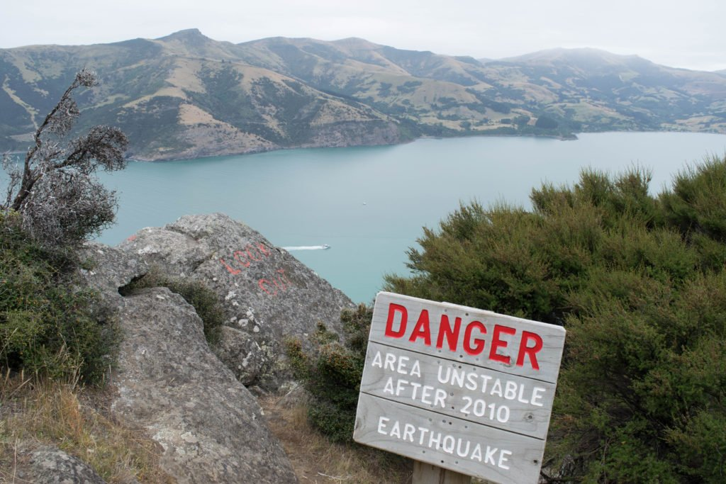 akaroa hiking danger sign after 2010 earthquake