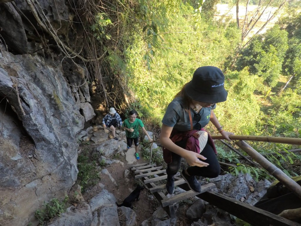 Climbing Up The Ladders to Pha Poak Viewpoint in Vang Vieng