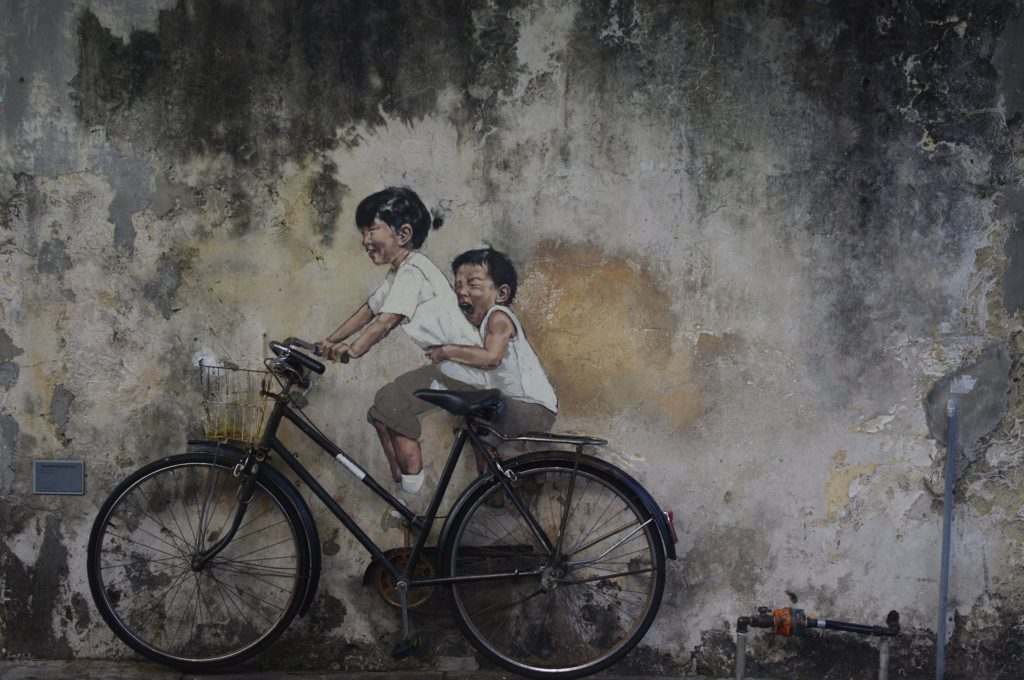 Penang Kids on Bicycle Street Art Lebuh Armenian
