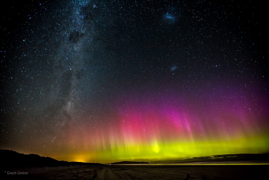 Milky Way and Aurora Australis over Bluff in New Zealand