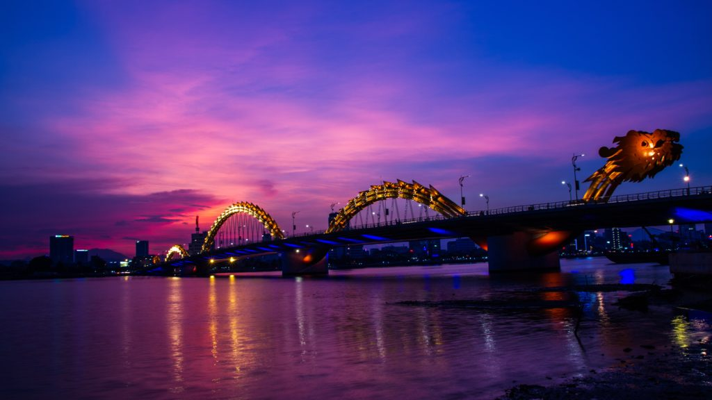 vietnam da nang city dragon bridge evening