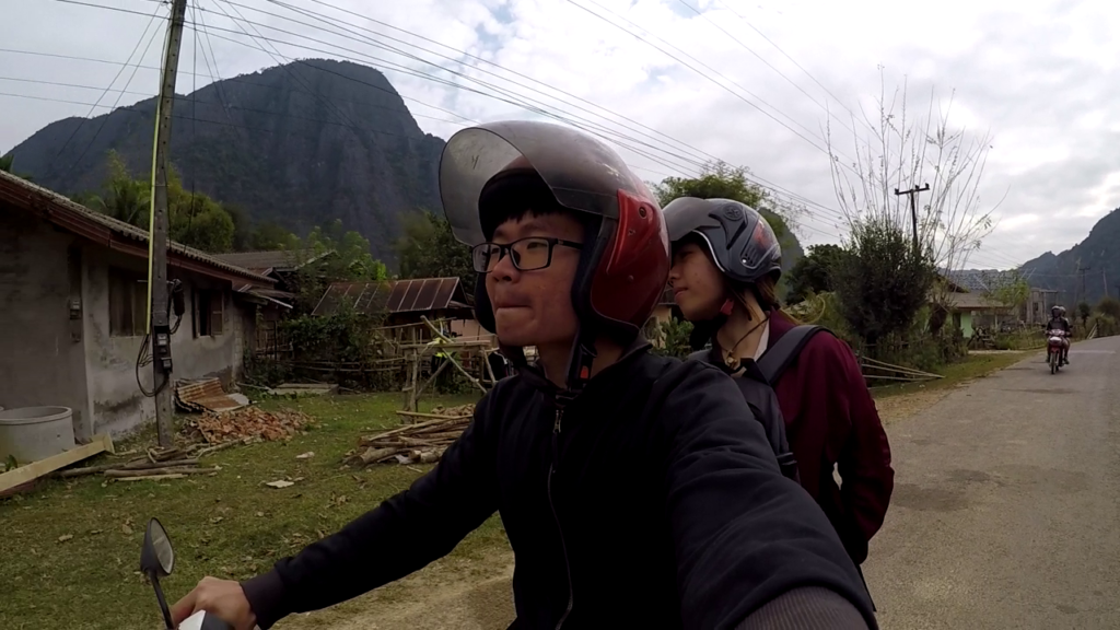 Laos Vang Vieng Riding Rented Motorbike Around City