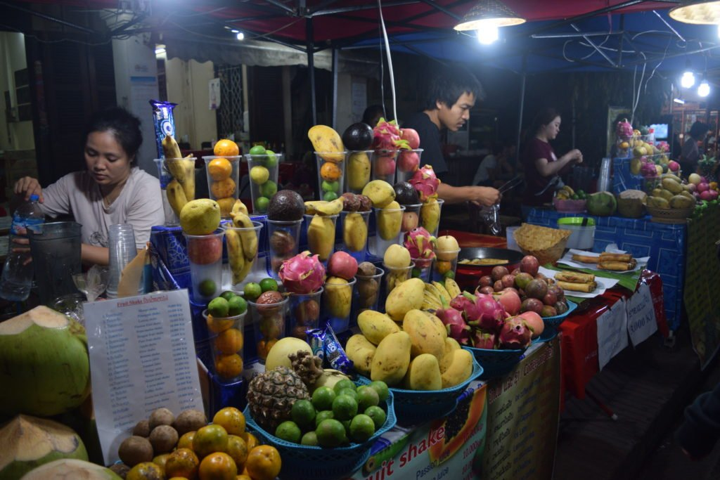 laos luang prabang night market fruit juice stalls