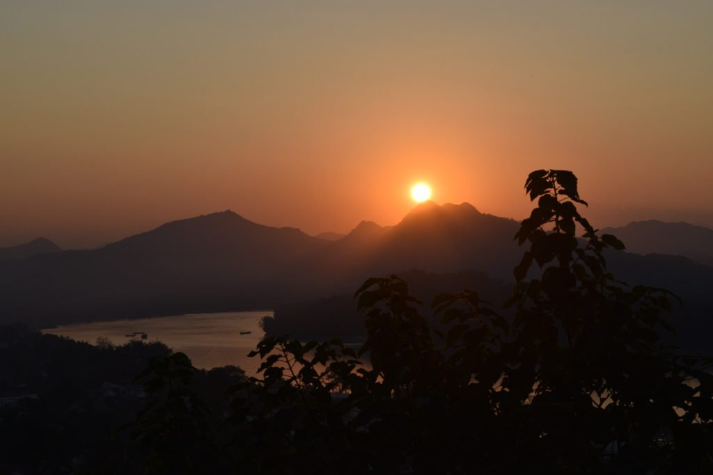 laos luang prabang sunset at mount phousi