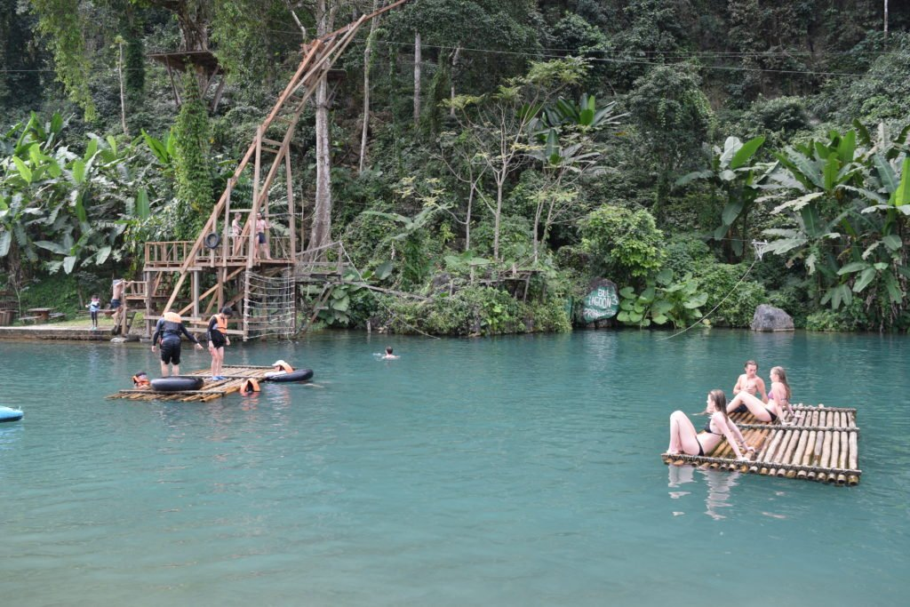 laos vang vieng blue lagoon 3 zip line bamboo raft swimming