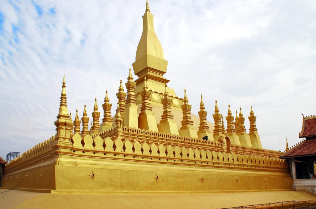 laos vientiane pha that luang golden stupa buddhist temple