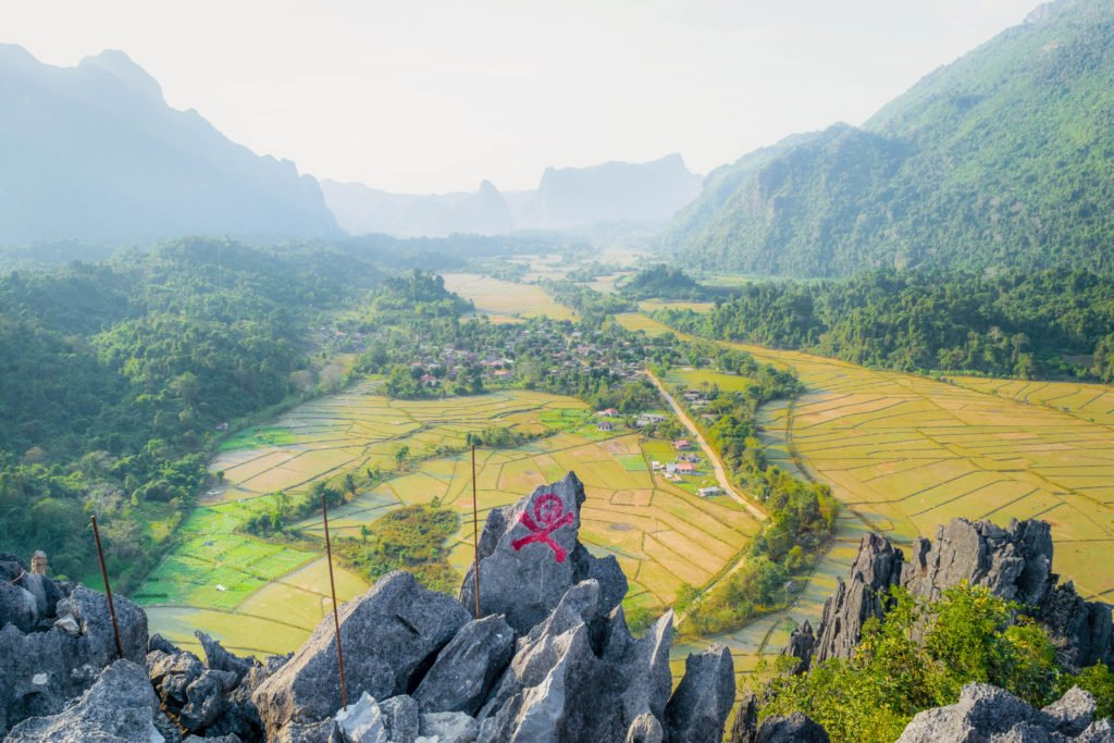 Laos Vang Vieng Pha Poung Kham Cliff Viewpoint Best Viewpoint Panoramic