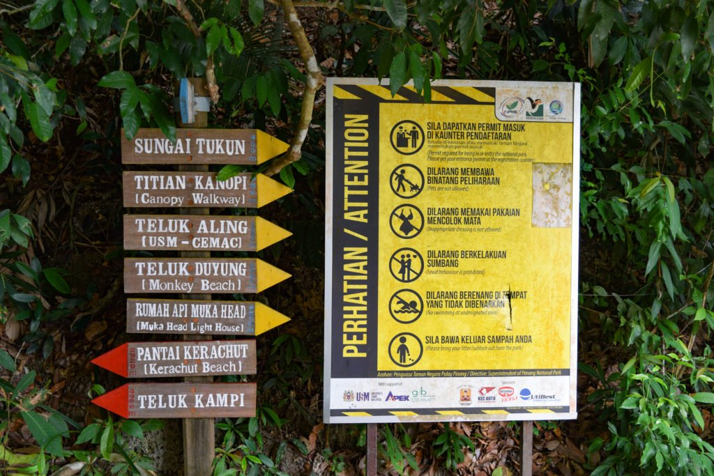 Penang National Park Signboards for Directions