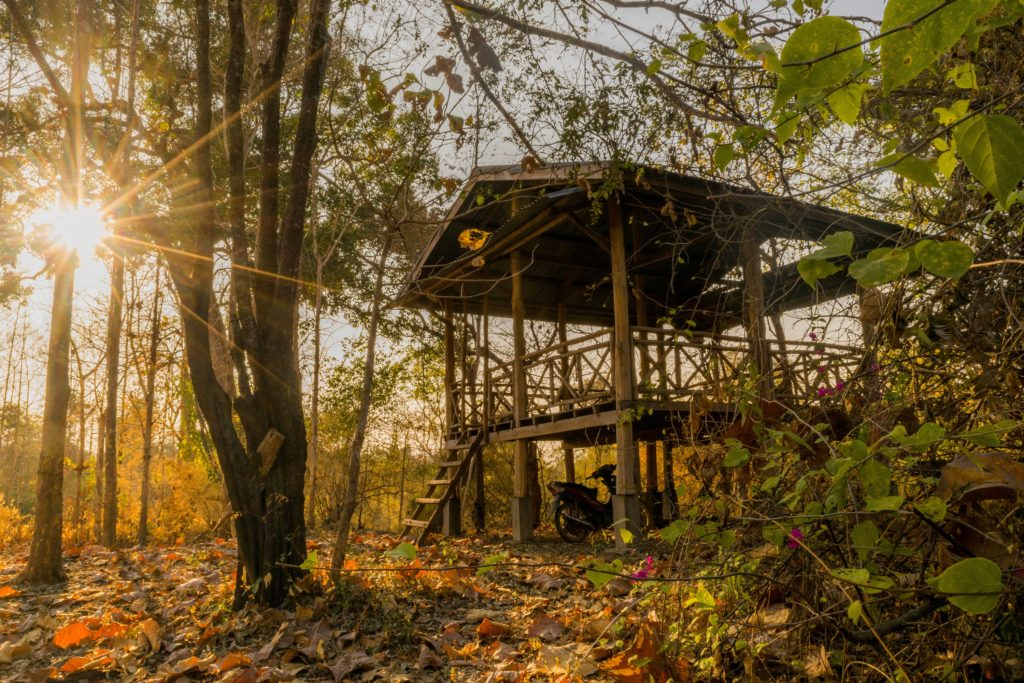 wooden hut in don khon in si phan don