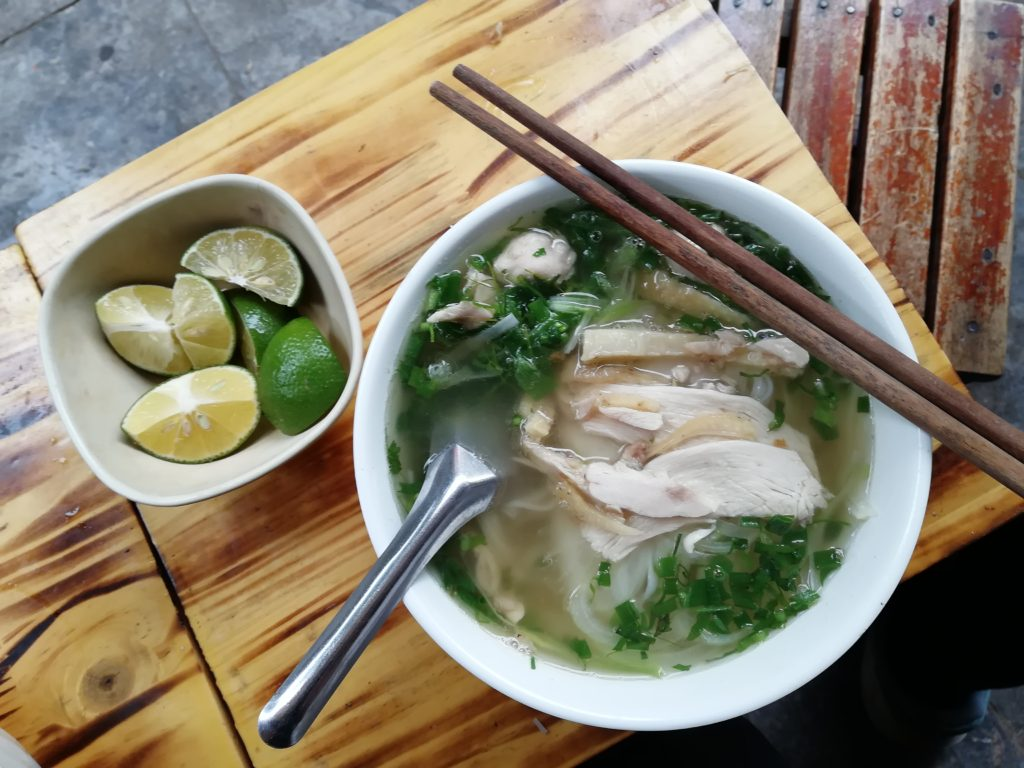 Vietnam Hanoi Pho with Chicken Slices and Herbs