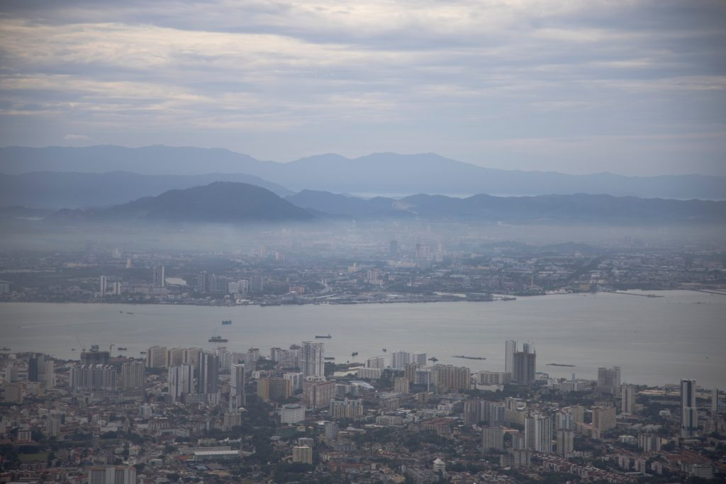View from Penang Hill Top on Penang Island and Mainland Penang