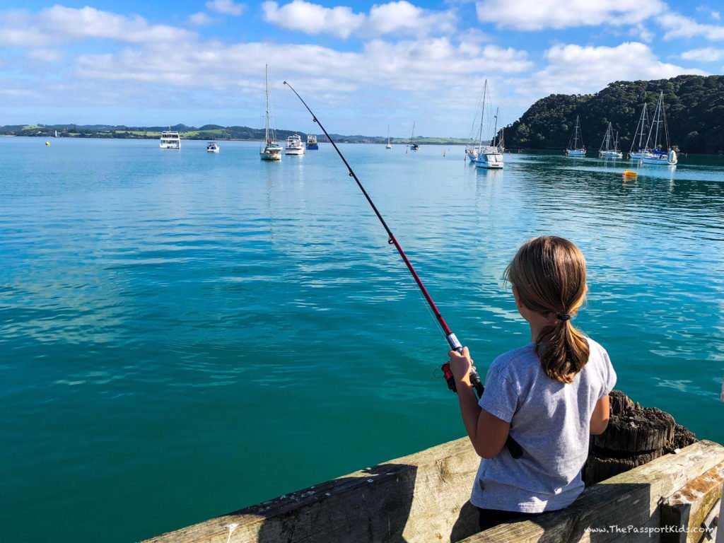 Fishing Off The Dock in Russell New Zealand North Island