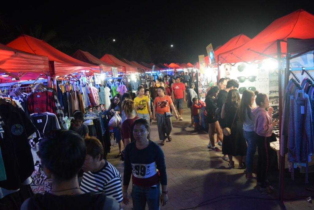 Vientiane Night Market Crowd